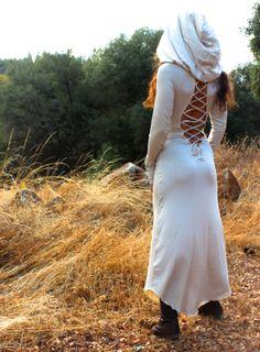 Nienna Hooded Dress With Sleeves N Open Back- gypsy, hippie dress, sexy, elf, elven, elvish, fairy, Bohemian. $128.00, via Etsy.