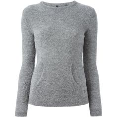 WOOLRICH Kangaroo Pocket Sweater (€145) ❤ liked on Polyvore featuring tops, sweaters, alpaca sweaters, woolrich, gray sweater, grey sweater et alpaca wool sweater