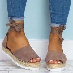 b2256ad405db Platform Peep Toe Lace Up Spring Summer Sandals