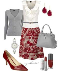 Work Outfit, Pretty red and grey! Mode Outfits, Casual Outfits, Fashion Outfits, Womens Fashion, Skirt Outfits, Summer Outfits, Style Work, Mode Style, Pretty Outfits