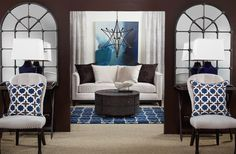 Indigo hues - might be nice color for guest bedroom.
