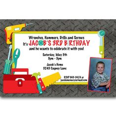 Hey, I found this really awesome Etsy listing at https://www.etsy.com/listing/177186628/tool-handyman-birthday-party-invitations