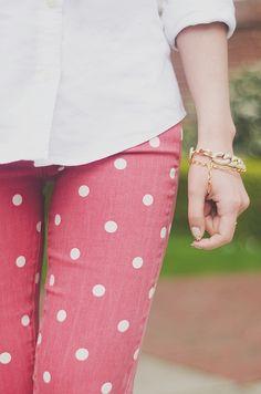 polka dot jeans.
