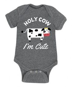 Take a look at this Athletic Heather 'Holy Cow I'm Cute' Bodysuit - Newborn & Infant today! Babies R, Little Babies, Everything Baby, Baby Fever, Future Baby, Baby Boy Outfits, Baby Items, Baby Gifts, New Baby Products