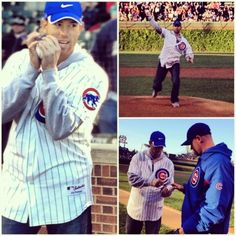 Chicago Bear Robbie Gould throws out first pitch at Chicago Cubs game.