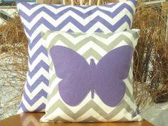 LOVE!!!! Purple nursery bedding!!!! Modern Chevron Butterfly Pillow Cover Purple by nest2impress,