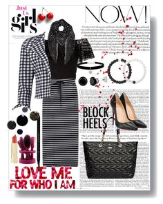 """""""black and white lining Costumes"""" by yanick-moretta ❤ liked on Polyvore featuring Philosophy di Lorenzo Serafini, WithChic, Boohoo, Karl Lagerfeld, Christian Louboutin, Yves Saint Laurent, Lokai, Betsey Johnson and Gucci"""