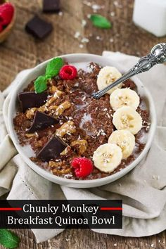 Chunky Monkey Breakfast Quinoa Bowl ~ the combination of creamy peanut butter, sweet bananas, & rich dark chocolate will send your taste buds into overdrive.