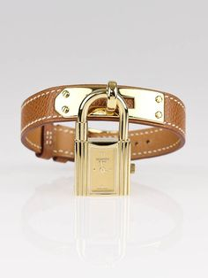 Hermes Gold Epsom Leather Gold Plated Kelly PM Watch - Jewelry