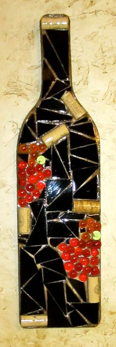Mosaic Wine Bottle Wall Hangings by ShumpertCreations on Etsy