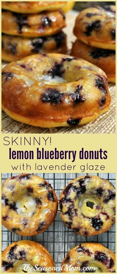 Lightened-up with Greek yogurt and fresh fruit, these easy SKINNY LEMON BLUEBERRY DONUTS WITH LAVENDER GLAZE come together in a matter of minutes (thanks to a box of cake mix), but they taste like decadent bakery treats!