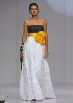 Black/White and Yellow wedding dress, this would look awesome for the brides maids