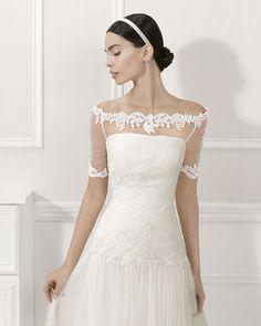 Beaded silky tulle dress, in ecru.Wedding Dress / Bridal.