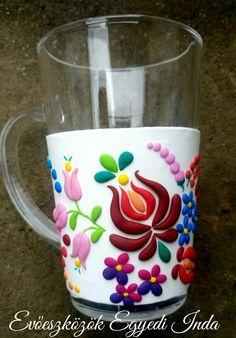 Mug with polymer clay, Kalocsai minta Clay Mugs, My Works, Coffee Cups, Polymer Clay, Mandala, Ceramics, Texture, Clay Ideas, Create