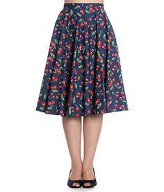 Hell Bunny April 50s Cherry Rockabilly Skirt Blue http://45.gs/595t
