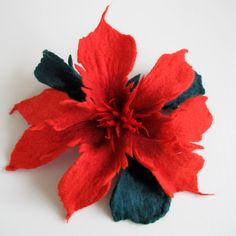 Felt Red Carmin Red  Green Unique Felted Flower Brooch by FeltZone