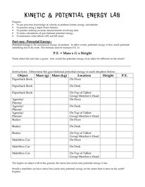 Worksheets Potential And Kinetic Energy Worksheets physics journey to life day 16 potential and kinetic energy lab