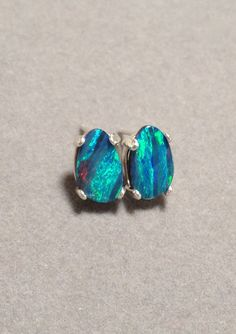 Australian Black Opal Earrings - Genuine Australian Opal Sterling Silver Doublet Earrings #opalsaustralia
