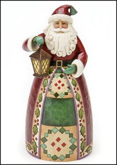 "Jim Shore Christmas  Classic Santa With Lantern  Season of Light    A classic Santa with lantern and all the signature Heartwood Creek designs and details!    Specifications:  Size: 9""H  Materials: Stone Resin   Note: Unique variations should be expected; hand painted      Your Price: $35.00"