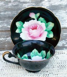 Vintage Teacup Tea Cup, Black And Gold With Hand Painted Pink Rose