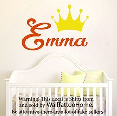 Wall Decal Name Personalized Custom Decals Princess Crown Vinyl Sticker Home Decor Art Mural Nursery Girl Bedroom OP2 ** More info could be found at the image url.