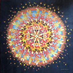 "Hedvábná mandala (malba na hedvábí) ""Hra s Ohněm""Silk Hhand Painted Mandala * Original"