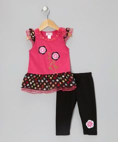 8153e45d5d00 Unik Pink Two-Flower Tunic   Black Leggings - Toddler   Girls