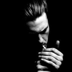 Michael Pitt for Interview Magazine -- Photography - Shadows - Black and White - Shadows - Portrait - Cigarette - Black
