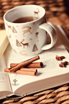 Deer, coffee, cinnamon, and books in a cold winter's eve. Does it get any better than that?!