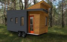 This is the 243 sq. ft. Stem-n-Leaf tiny house on wheels by Adam Rasmussen of TMBRZ. It features opposing roof lines, a recessed entry, and contrasting siding which makes it very unique. Inside, yo…