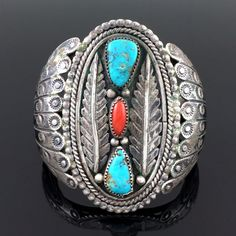 LARGE NAVAJO HANDMADE STERLING SILVER TURQUOISE & CORAL CUFF BRACELET SIGNED