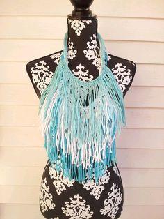 Aqua White and Turquoise Bohemian Fringe Necklace