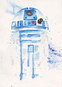 droid Watercolor art Print Star Wars Decor paint - Star Wars Paint - Ideas of Star Wars Paint - droid Watercolor art Print Star Wars Decor paint Star Wars Fan Art, Star Wars Decor, Cuadros Star Wars, Star Wars Painting, Art Watercolor, Star Wars Droids, Star Wars Wallpaper, Star Wars Gifts, Cool Art