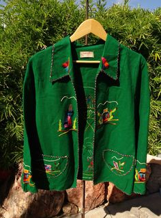 Vtg 40s 50s Mexican Hand Embroidered Souvenir Jacket Folk Art Wool Appliqué L in Clothing, Shoes & Accessories, Vintage, Women's Vintage Clothing, 1947-64 (New Look-Early 60s), Coats & Jackets | eBay