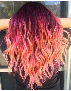 New hair goals color ombre 63 Ideas Pretty Hair Color, Beautiful Hair Color, Hair Color Purple, Hair Dye Colors, Orange And Pink Hair, Pastel Colored Hair, Colored Hair Roots, Orange Ombre Hair, Vivid Hair Color