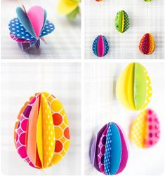 Today she is going to show you the world's easiest paper eggs. All you need is patterned or plain paper, scissors, a stapler, a needle & some thread. These colorful paper eggs wil look good hanged on a brach or glued into an easter gift card. Spring Crafts For Kids, Paper Crafts For Kids, Diy For Kids, Paper Flower Wreaths, Flower Crafts, Easter Egg Crafts, Easter Gift, Easter Tree, Easter Activities