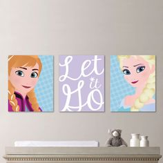 Frozen Wall Art--If I had a girl who liked Frozen, I would totally be buying these...