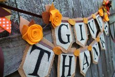 Fall Thanksgiving Hand Painted Burlap Banner by KraftinMommy