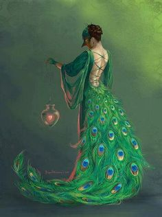Peacock Art...By Artist Unknown... Peacock Costume, Peacock Dress, Peacock Art, Peacock Pics, Peacock Canvas, Peacock Crafts, Green Peacock, Peacock Colors, Peacock Feathers