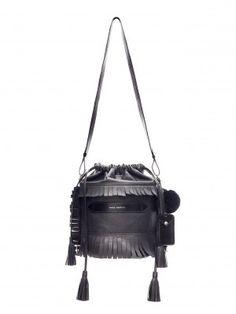Marie Martens BLACK IBIZA BUCKET BAG Boho Chick – Rock – Parisienne – Designer Handbag – Paris – Ibiza – Fringes – Pompons- Leather –Bohemian -