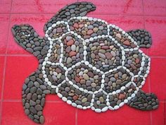 "Items similar to The mat of sea pebbles ""Sea turtle"" on Etsy Mosaic Rocks, Pebble Mosaic, Stone Mosaic, Pebble Art, Mosaic Art, Mosaic Crafts, Mosaic Projects, Stone Crafts, Rock Crafts"