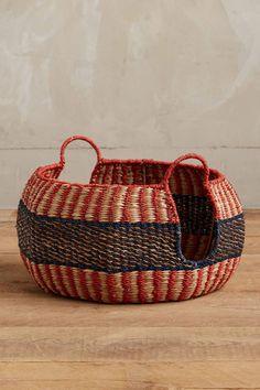 Handmade Abaca Twine Weave Drum Basket
