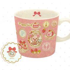 San-X Piggy Girl Strawberry Mug: Pink