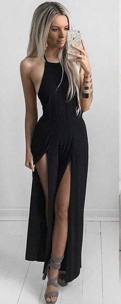 Black Split Maxi Dress                                                                             Source