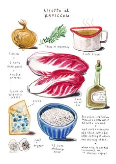 illustrated recipes: risotto al radicchio Art Print by Felicita Sala | Society6