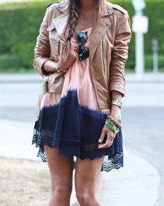 Two toned dress pair with tan coloured leather jacket. Summer ready!