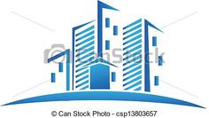 Vector - Skyline buildings real estate logo - stock illustration, royalty free illustrations, stock clip art icon, stock clipart icons, logo, line art, EPS picture, pictures, graphic, graphics, drawing, drawings, vector image, artwork, EPS vector art