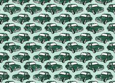 Retro Blue Cars - Digital Scrapbooking Paper - Download Image - 12x12 inches - 300 dpi