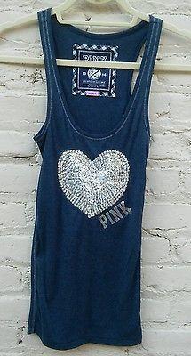 NEW Victoria's Secret Love Pink Sequin Blue HEART Tank Top Sz Small