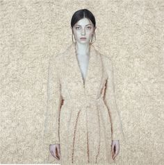 High fashion wool coat color nude. Fashion collage. Pure Russian design. Stylish bright look